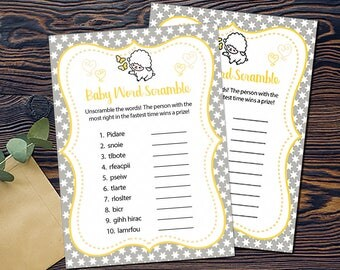 Little Lamb Shower Games- Baby Word Scramble-DIGITAL INVITATION-Printable Invite Card - Baby Lamb Shower Card - Grey Yellow White Stars