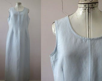 80s 90s Powder Blue Linen Maxi Dress Medium Large