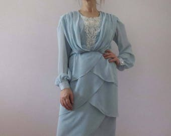 80s Powder Blue Petal Layer Dress Small Ursula of Switzerland