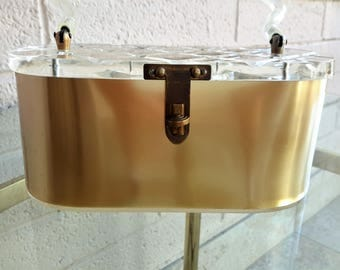 Charles Kahn Lucite Purse Caramel and Clear Diamond Pattern Mid Century Luxury Glam Accessory