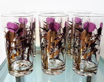 Vintage Barware Glasses Gregory Duncan 22K Gold Purple Thistle Flower Signed Hiball  Set of 6