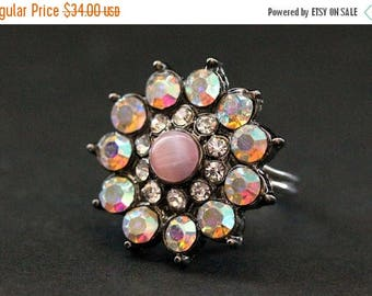 SUMMER SALE Vintage Button Ring. Pink Rhinestone Ring. Rhinestone Flower Ring. Adjustable Ring. Handmade Jewelry.
