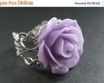 BACK to SCHOOL SALE Purple Rose Ring. Purple Flower Ring. Filigree Ring. Adjustable Ring. Flower Jewelry. Handmade Jewelry.