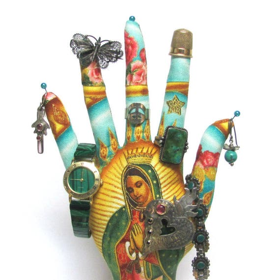 CLASSIC Our Lady Guadalupe Fabric HAND-Stand ~ Jewelry Display ~ Ready to Ship