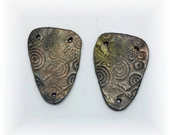 Handmade Rustic Ceramic Elements for Jewelry , Art Quilts, Mixed Media