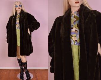 80s Olive Brown Faux Fur Coat/ XXXL/ 1980s/ Jacket