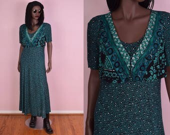 90s Teal Flowy Maxi Dress/ Medium/ 1990s