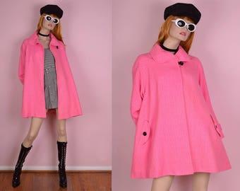 60s Pink Herringbone Trapeze Coat/ Large/ 1960s