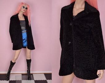 90s Black Faux Persian Lamb Fur Coat/ US 6/ 1990s/ Jacket
