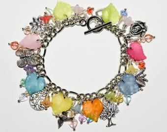 Nature Charm Bracelet, Summer Jewelry, Rainbow Bracelet, Flower Bracelet, Bright Jewelry, Tree of Life, Bee Jewelry, Loaded Charm Bracelet