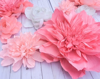 Set of 8 - Mix - Peonies and Gardenia Giant Crepe Paper Flowers