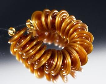 Mystic Honey - Handmade Lampwork Glass Disc Bead Set by That Bead Girl