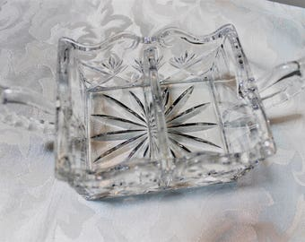 Vintage Sugar packet holder - Double sided pressed glass