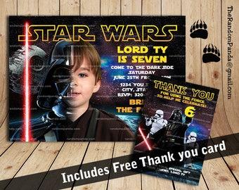 Personalize Star Wars Invitation, Darth Vader Party, Star Wars Birthday Invite