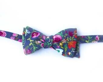 Grey Flower Bud Bow Tie