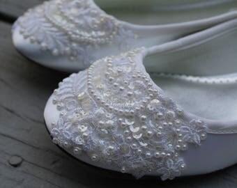 SALE - size 8.5 White Dazzle Bridal Ballet Flats