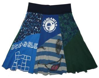 Boho Skirt Women's Medium Large Hippie Skirt Recycled Midi Skirt Smiley Face Upcycled Clothing T-Shirt Skirt Twinkle Skirts from Twinklewear