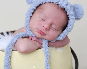Blue Bear Hat with Ears for boys or girls, 3 colors, brown, blue-grey, beige, soft textured fabric, newborns 0-3 M Lil Miss Sweet Pea