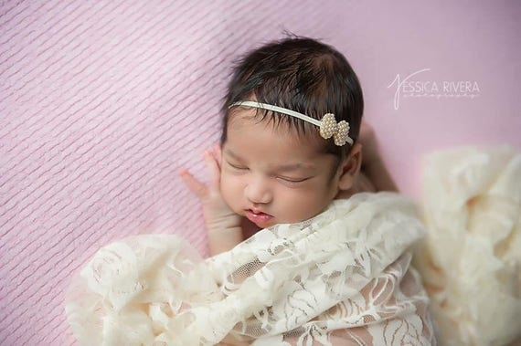 Ivory roses stretch lace swaddle wrap AND/OR Pearl Bow headband for newborn photo shoots, lace wrap by Lil Miss Sweet Pea
