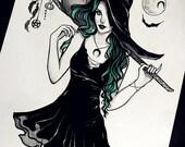 Witching hour halloween occult witchy cats pumpkin gothic wicca samhain pagan fantasy dark got artprint