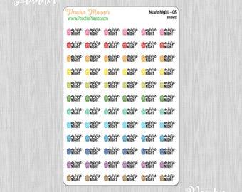 Movie Night, Rainbow Brights - 72 Functional Planner Stickers    08