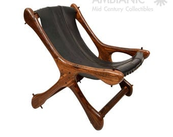 mid century modern cocobolo don shoemaker sling leather chair
