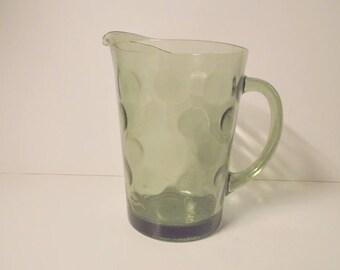 Green Glass Water/Juice Pitcher---Hazel Atlas