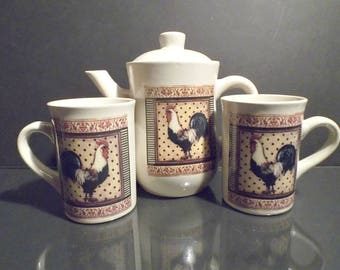 Stoneware Classic Rooster Teapot and Mug Set