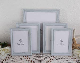 Gray Picture Frame Set Rustic Shabby Chic Distressed Photo Gallery Collection Beach Cottage Coastal Seaside Country Farmhouse Home Decor