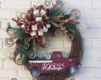 Rustic Holiday Grapevine Wreath, Happy Holidays Wreath, Rustic Wreath, Winter Wreath