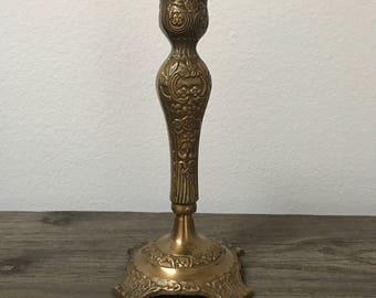 One single vintage brass embossed candlestick holder