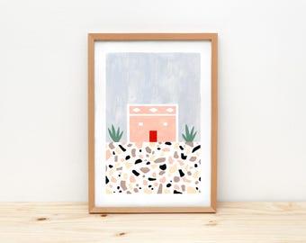 Portuguese house I- illustration by depeapa, print, poster, A4 wall art, wall decor, terrazzo