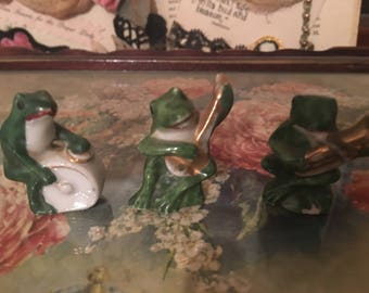 3 pc Vintage Miniature Musical Frog Japan ser