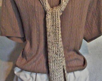 Knitted Light Weight Tan-Beige-Khaki Tweed Scarf