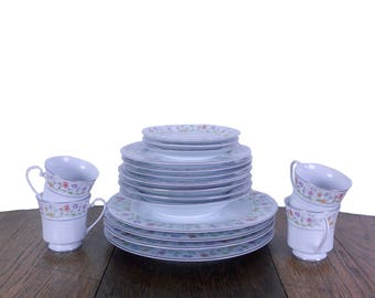 Vintage Dishes Floral Dinnerware Set 1980s Service for Four - Eternal Love Pattern by Ashley Overseas - Plates, Bowls, Cups & Saucers