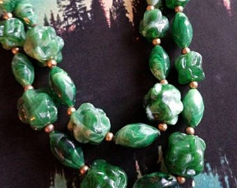 Vintage chunky nugget choker necklace green gold tone