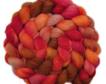 Hand painted combed top roving - Silk / Shetland wool 30/70% spinning fiber - 4.1 ounces - Reading by Firelight 1