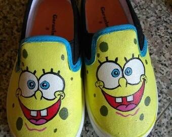 Sponge Bob square pants custom shoes toddler/kids/adults