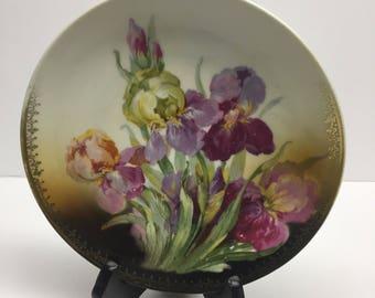 Three Crowns China Plate full blooming Iris white back ground hand painted 7 inch