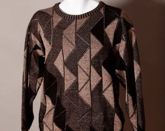 Vintage 80s Men's Sweater triangle pattern - AREA - M