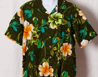 Vintage Hawaiian Shirt - tropical flower and green - Kennington Ltd - XL