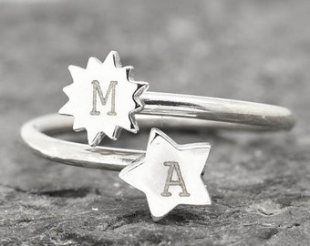 Initial Ring, Star Ring, Sun Ring, Moon Ring, Heart Ring, Personalized Gift, Bridesmaid Gift, Custom made, Stacking Ring, Best Friend Gift