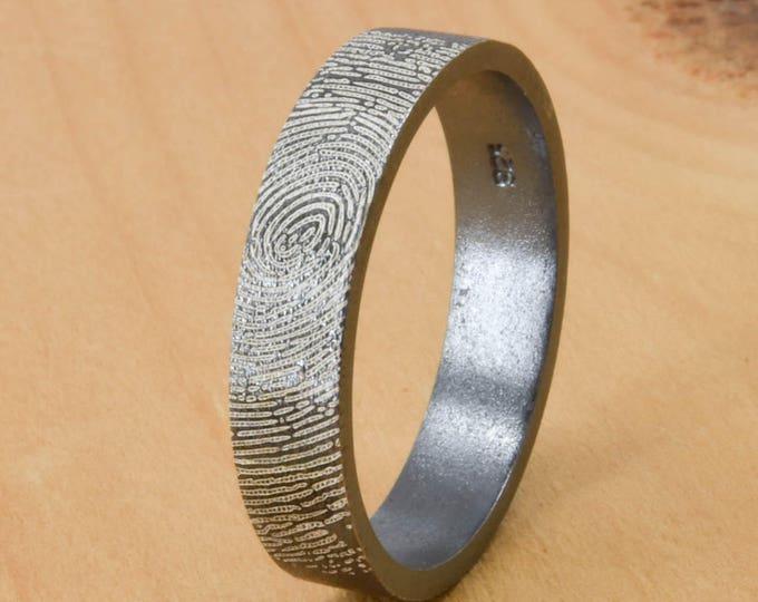 Fingerprint Ring, Engraved Ring, Engraved Jewelry, Custom Ring, Fingerprint Jewelry, Personalized Ring, Mens Ring, Wedding Band,Promise Ring
