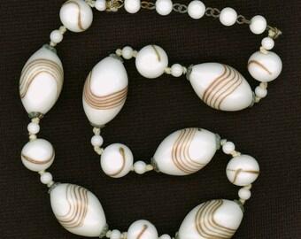 Vintage Japanese Bead Necklace White & Aventurine Lampwork - Restring, Restyle, Repurpose
