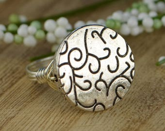 Sale! Large Swirl Disc Bead Wrapped Ring- Sterling Silver, Yellow or Rose Gold Filled Wire - Any Size 4 5 6 7 8 9 10 11 12 13 14