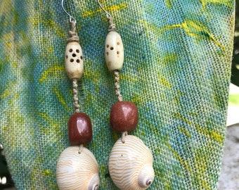 Macrame Beaded Earrings, Boho Style Earrings, Ocean Jewelry, Beach Style, Hippie Earrings, Macrame Beaded Jewelry, Boho Style Jewelry, lm