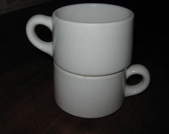 Two (2) Vintage Jackson China White Stout Stacking Cups 1950