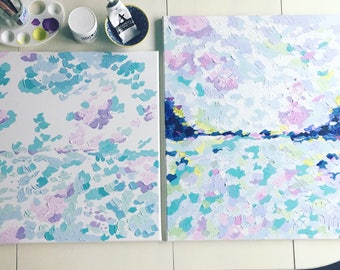 OCEAN + AIR painting. acrylic painting. ocean painting. lilac + light blues + light greens + white + teal + blues. made to order. 20 x 24.