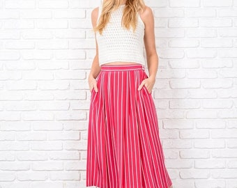 ON SALE Vintage 80s Pink Striped Skirt Pleated High Waist White A-Line Small S 8708
