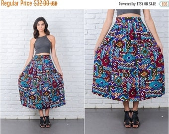 ON SALE Vintage 80s Blue Southwestern Print Skirt Ethnic Tribal Pleated Midi S M 7170